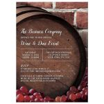Wine and Dine Invitations - Rustic Wine Barrel Vineyard