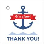 Nautical baby shower favor tag with anchor and red ribbon banner