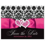 Hot pink, black, and white damask pattern wedding save the date card with ribbon, bow, scroll, and jeweled joined hearts buckle brooch.