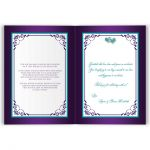 Purple, turquoise blue and white floral folded wedding invitation card or thank you card with aqua ribbon, bow, jeweled joined hearts, ornate scrolls and flourish.