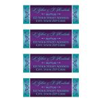 Personalized wedding return address mailing labels in aqua blue, teal, white and purple flowers.