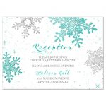 Turquoise, silver and white winter snowflake wedding reception enclosure card front