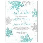 Turquoise, silver and white winter snowflake wedding save the date announcement front