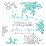 ​Turquoise, silver gray and white winter snowflake personalized wedding favor tags front