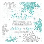 ​Turquoise, silver gray and white winter snowflake personalized wedding favor tags back