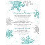 Turquoise, silver gray and white winter snowflake wedding accommodations insert card front