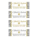Silver, gold, and white snowflakes and glitter damask pattern personalized winter wonderland wedding address labels with gold snowflake.