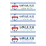 Nautical baby shower return address labels with anchor and light blue borders.