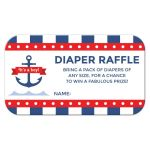 Nautical baby shower diaper raffle ticket with anchor and blue stripes.