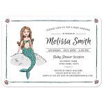 Mermaid under the sea baby shower invitation with cute mermaid illustration