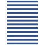 Blue and white stripes, back of the modern Ahoy nautical baby shower invite with dark blue anchor
