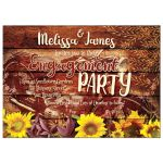 Rustic Sunflowers Vintage Motorcycle Engagement Invite