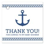 Nautical baby shower favor tag with blue anchor and rope borders.