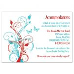 Red, turquoise blue, and white wedding accommodations enclosure insert cards with butterflies, flowers, vines, and modern typography.