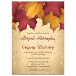 Wedding Invitations - Rustic Burgundy Gold Autumn Leaves