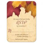 RSVP reply cards - Rustic Burgundy Gold Autumn Leaves
