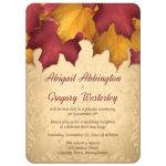 Reception Only Invitations - Rustic Burgundy Gold Autumn Leaves