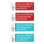 Red, turquoise blue, and white return address mailing labels with flowers, vines, and modern typography.