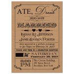 "Ate, Drank and Got Married"" post-wedding reception invitation with hearts and scrolls in a vintage poster style on faux kraft paper."