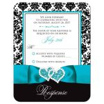 Turquoise blue, black, and white damask pattern wedding response cards with teal ribbon, bow, aqua blue scroll, and double jeweled joined hearts buckle brooch.