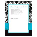 Turquoise blue, black, and white damask pattern wedding rsvp cards with teal ribbon, bow, aqua blue scroll, and double jeweled joined hearts buckle brooch.