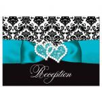 Turquoise blue, black, and white damask pattern wedding reception enclosure cards with teal or aqua blue ribbon, bow, scroll, and jeweled double hearts buckle brooch.