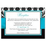 Aqua blue, black, and white damask wedding reception and accommodations enclosure card with turquoise or teal ribbon and decorative scroll.