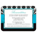 Aqua blue, black, and white damask pattern wedding reception and accommodations enclosure card with turquoise or teal ribbon and decorative scroll.