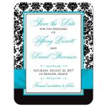 Turquoise, black, and white damask pattern photo template wedding save the date card with aqua blue or teal ribbon, bow, scroll, and double jeweled joined hearts buckle brooch.