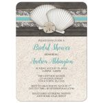Bridal Shower Invitations - Beach Seashells Lace Rustic Wood and Sand