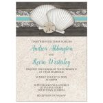 Wedding Invitations - Beach Seashells Lace Rustic Wood and Sand
