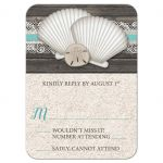 RSVP Reply Cards - Beach Seashells Lace Rustic Wood and Sand