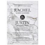 Modern marble charcoal gray wedding invitation