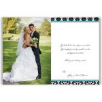 Personalized turquoise, black, and white damask pattern double photo template wedding thank you card with ribbon, bow and jeweled joined hearts buckle.