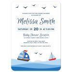 Sailboat baby shower invitation with cute cartoon boats