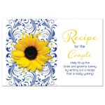 Cobalt blue and white floral, yellow sunflower couple's bridal shower recipe card front