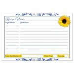 Cobalt blue and white floral, yellow sunflower couple's bridal shower recipe card back