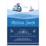 Sailboat baby shower invitation with boats, anchor and rope border