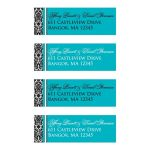 Personalized black and white damask pattern address labels with turquoise or teal blue accents.