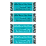 Personalized black and white damask pattern wedding return address mailing labels with turquoise or teal blue accents and decorative scroll ornament.