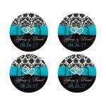 Turquoise, black, and white damask pattern wedding favor stickers or envelope seals with aqua blue or teal ribbon, bow, and double jeweled joined hearts buckle brooch.