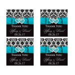 Turquoise, black, and white damask pattern wedding favor thank you stickers with aqua blue or teal ribbon, bow, and double jeweled joined hearts buckle brooch.