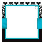 Turquoise, black, and white damask pattern wedding favor thank you tag with aqua or teal blue ribbon, bow, scroll, and double jeweled joined hearts buckle brooch.
