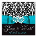 Personalized turquoise, black, and white damask pattern wedding favor thank you tag with aqua or teal blue ribbon, bow, and double jeweled joined hearts buckle brooch.