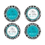 Custom black and white damask pattern wedding favor stickers or save the date envelope seals with turquoise or teal blue accents.