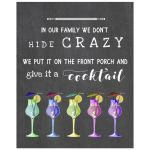 8x10 Whimsical Chalkboard Tropical Cocktails Art Print