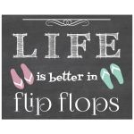 8x10 Life is better in Flip Flops Chalkboard Art Print