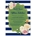 Bold navy or royal blue, green, and white striped bridal shower, wedding shower or couples shower invitation with vintage cream, yellow, and pink roses, orange lilies and gold foil.