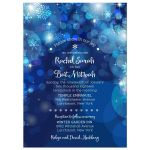 Snowflake Blue Winter Bokeh Bat Mitzvah Invitation