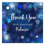 Snowflake Blue Winter Bokeh Bat Mitzvah Gift Favor Tag